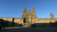 Santiago Cathedral view in afternoon Stock Footage