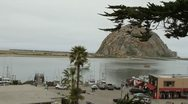 Morro Bay overlooking beach village Stock Footage