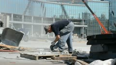 Construction works, work of equipment and people. Stock Footage