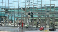 Washing of a facade of a building Stock Footage