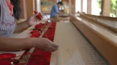 Weaving traditional mexican carpet Stock Footage