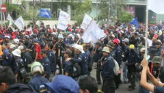 Workers Held a Demonstration at Labor Day - stock footage