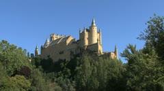 Segovia castle with bird i Stock Footage