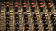 Stock Video Footage of Panning Field of Mixing knobs