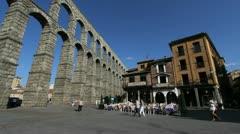 Segovia aqueduct and cafe Stock Footage