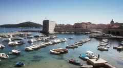 Dubrovnik old tow harbor - stock footage