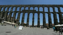 Spain Segovia aqueduct view - stock footage