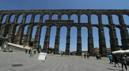Stock Video Footage of Spain Segovia aqueduct view