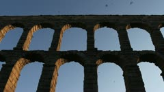 Segovia aqueduct evening Stock Footage