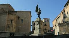 Segovia Juan Bravo statue Stock Footage