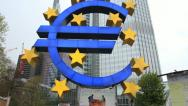 Stock Video Footage of Euro sign and European Central Bank