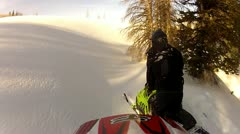 Snowmobile helmet cam stuck in the snow 5.mp4 Stock Footage