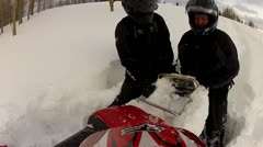 Snowmobile stuck in the snow 3.mp4 Stock Footage