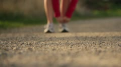 Runner Running on a gravel road exercising working out 3.mp4 Stock Footage