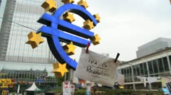 Euro sign and European Central Bank Stock Footage