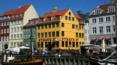 Beautiful old houses in Nyhavn Stock Footage