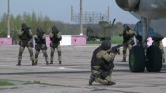 Plane CAPTURE by special troops Stock Footage