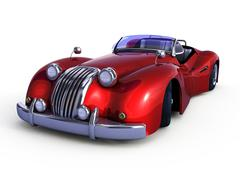 Red retro car - stock illustration