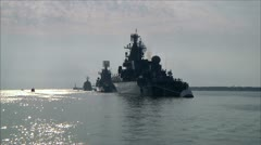 Warships in the sea Stock Footage