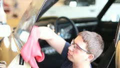 Cleaning car Windows Stock Footage