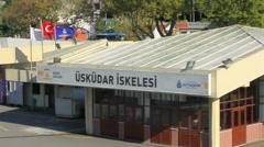 Uskudar port in Istanbul, Turkey Stock Footage