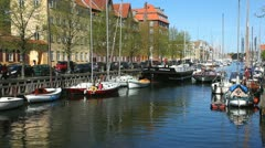 Touristboat at Copenhagen Canal Stock Footage