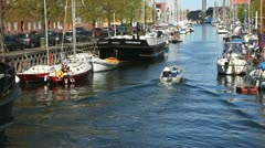 Cozy atmosphere at the Canal in Copenhagen - stock footage