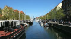 Restaurant boat at the Christianshavns Canal in Copenhagen Stock Footage