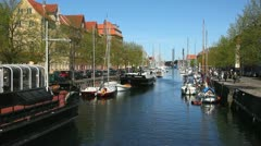 Sailboats at Christianhavns Canal in Copenhagen Stock Footage