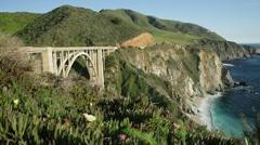 Bixby Creek Bridge views, Big Sur, California Stock Footage