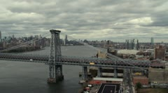 Pan over Manhattan skyline on an overcast day. Stock Footage
