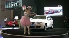 Performance at the release of a new Lotus car in China Stock Footage