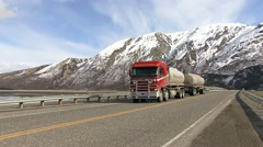 Tanker Truck Passes By on Yukon Territory Highway Stock Footage