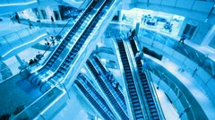 Escalators in shop. City life background. Stock Footage