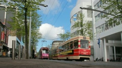 Tram in central The Hague - stock footage