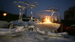 Candle with Rice in a Restaurant Table Stock Footage
