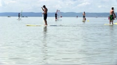 stand up paddling, SUP - stock footage