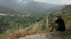 Spain Sierra Nevada man on a hill in the Alpujarra 4 Stock Footage