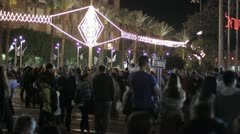 498 Pan of people party in town square in Tel-Aviv at night Stock Footage