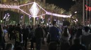 Stock Video Footage of 498 Pan of people party in town square in Tel-Aviv at night