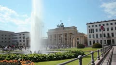 Brandenburg gate fountain Stock Footage