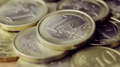 Euro coins close up - stock footage
