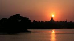 Shwedagon Pagoda sunset timelapse Stock Footage