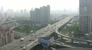 Stock Video Footage of Highway, skyline, city, smog, traffic, intersection, pollution, China