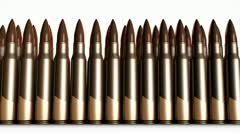 Bullet animation, 5.56mm bullets, metal, fired, gun. Stock Footage