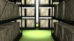 Storage room, warehouse, store, goods, box. - stock footage