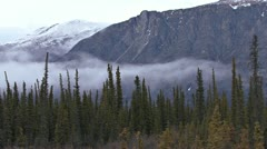 Misty Mountain Yukon Forest Time Lapse Stock Footage