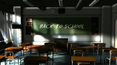 Empty school classroom with back to school writing text on the blackboard. Stock Footage