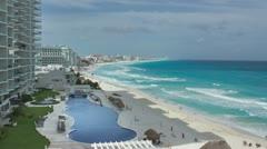 Cancun hotel mile beach Stock Footage