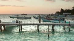 Isla mujeres boats cancun caribbean Stock Footage